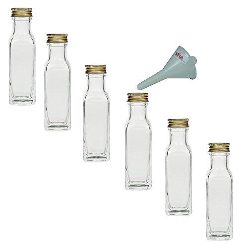 mikken - 6 x Glasflasche 100 ml mit Schraubverschluss, leere Flaschen zum Befüllen als Ölflasche, Schnapsflasche, Einmachflasche etc. verwendbar (inkl. Trichter Ø 5 cm)