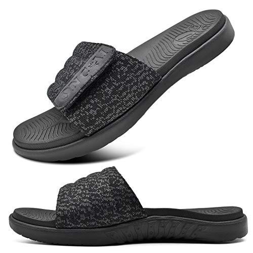 ONCAI Negro Sandalias de Piscina Hombre Punta Abierta Correa Ajustable Pantuflas Verano Ortesis de Soporte de Arco Deportes Zapatillas Playa Talla 40