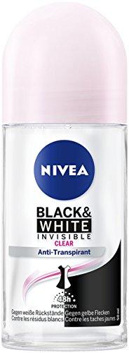 NIVEA Black & White Invisible Deo Roll On im 6er Pack (6 x 50 ml), Antitranspirant Roller gegen Deo-Flecken auf der Kleidung, Deodorant mit 48h Schutz