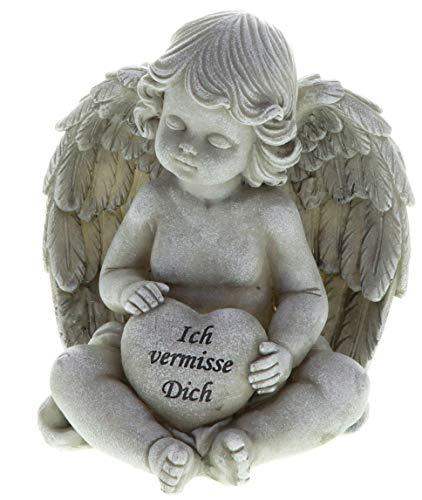 hLine Grabfigur Engel mit Herz Grabengel mit Spruch 17 cm