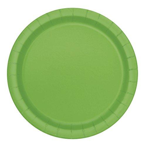 Unique Party - Platos de Papel - 17.1 cm - Verde Lima - Paquete de 20 (31424)