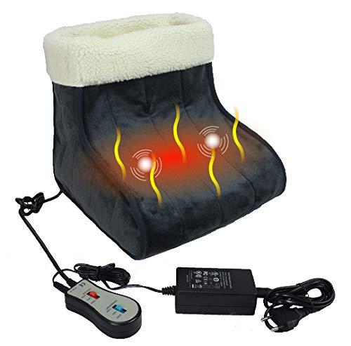 ObboMed MF-2060BS Weites Infrarot-Carbon Beheizt & Vibrationsmassage Fußwärmer/Stiefel/Hausschuhe, 12V 22W, Far Infrared-Wellenlänge 8-15 μm (Gesundheitsbereich : 4-14 μm), Autom. Abschaltung