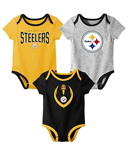 Outerstuff NFL Newborn Infants Nowstalgic Icon 3 Piece Creeper Bodysuit Set (6/9 Months, Pittsburgh Steelers)