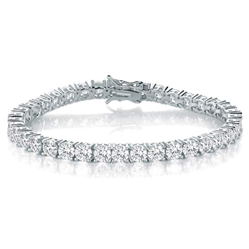925 Sterling Silver CZ Tennis Bracelets for Women Men 4mm Cubiz Zirconia Jewellery Gifts for Her