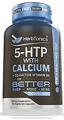 5 HTP 200 MG Supplement with Calcium + B6 Cofactor - Promotes Serotonin Synthesis - Vegetarian Capsules 5htp 200mg Mood Enhancer and Cortisol Health for Women and Men