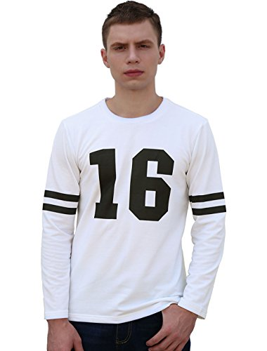 Homme Imprimé lettres Rayures Détail Manches Longues T-shirt
