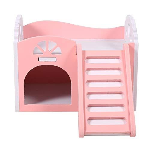 Hamster House, 3Colors Pet Hamster Castle Sleeping House Nest Ejercicio de juguete Juguete de dos pisos Pequeño escondite para mascotas Habitación con escalera para ardillas Jerbos Hamsters(Rosado)