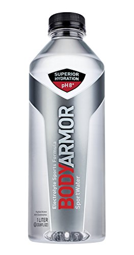BODYARMOR Sport Water Alkaline Water, Superior Hydration 8+ pH, Electrolyte Sports Formula, Supports Active Recovery, Perfect For Athletes, 1 Liter (Pack of 12)