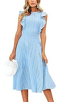 ECOWISH Womens Dresses Elegant Wedding Cocktail Ruffles Cap Sleeves Summer A-Line Midi Dress Blue Medium
