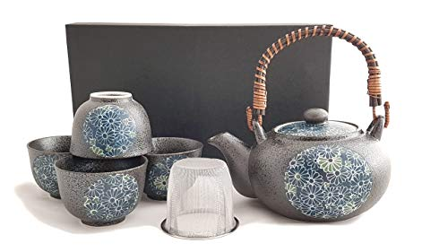 Original japanisches Teeservice KIKUMON Japan Teeset Porzellan in Geschenkbox Kanne 600 ml