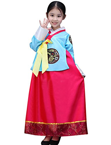 CRB Fashion Girls Traditional Kids Korean Hanbok Outfit Dress Costume (120cm, Blue Red)