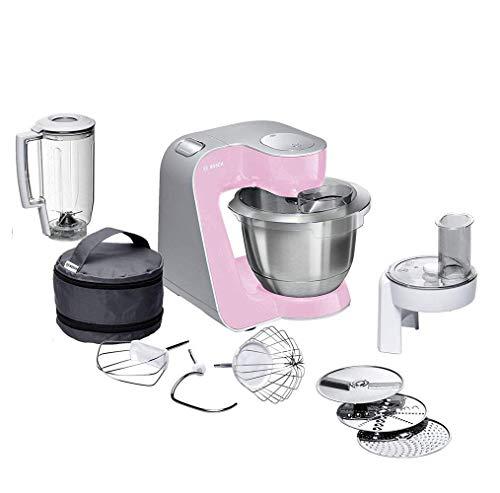 Bosch MUM5 CreationLine Küchenmaschine MUM58K20, vielseitig einsetzbar, große Edelstahl-Schüsssel (3,9l), Durchlaufschnitzler, 3 Scheiben, Mixer, 1000 W, rosa/silber