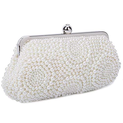 BAIGIO Clutch Damen Perlen Abendtasche Elegant Handtasche für Hochzeit Party