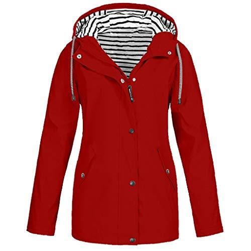Deloito Damen Übergröße Regenjacke Draussen Reisejacken Bergsteigen Sport Windbreaker Wasserdichter Regenmantel mit Kapuze Winddicht Mäntel (Rot,X-Large)