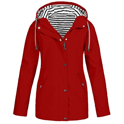 QingJiu Damen Winter Kapuzenjacken Draussen Mantel Große Größe Windbreaker Wasserdicht und Winddicht Mode Parka