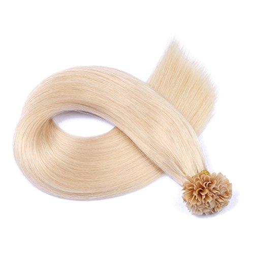 Keratin Bonding - # 60 - WEISSBLOND - 50cm - 200 Strähnen - 0,5g - 100% Remy Echthaar Haarverlängerung U-Tip Extensions hohe Qualität by NOVON Hair Extention mit sehr hoher Qualität