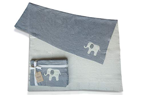 Wendedecke f/ür Jungen und M/ädchen in grau melange//beige 80x100 cm tolle Gr/ö/ße und super weich nidito/® Babydecke//Kuscheldecke Punkte mit Elefant 100/% Baumwolle