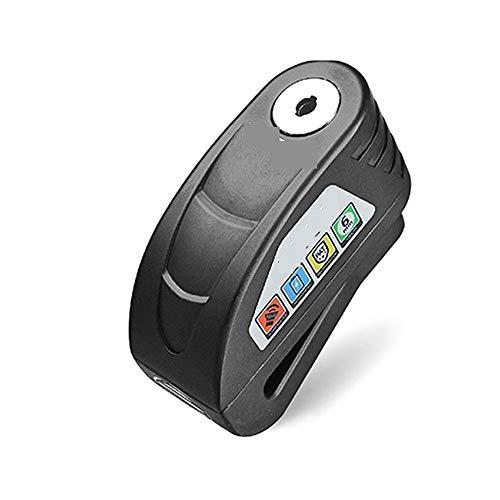 Motocicleta Disco de bloqueo de alarma a prueba de agua Bloqueo de la bici Disco de bloqueo Advertencia de seguridad antirrobo de disco de frenos Candado Fácil de instalar (Color : Black)