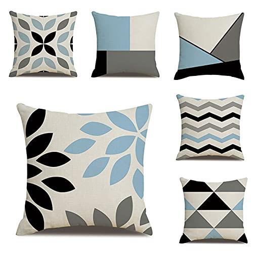 TROYSINC Juego de 6 fundas de cojín geométricas, de lino de algodón, 45 x 45 cm, para sofá, cama, decoración del salón (estilo A)