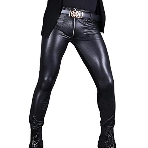 AXHSYZM Herren Lederhose in Nubuk Leder schwarz Bikerjeans Hosen,XL