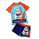 Bañador para Niños Pequeños 2 Piezas Traje de Natación Verano Camiseta de Manga Corta Pantalones Cortos Ropa de Baño con Estampado de Dibujos Animados (Azul, 4-6 Años)