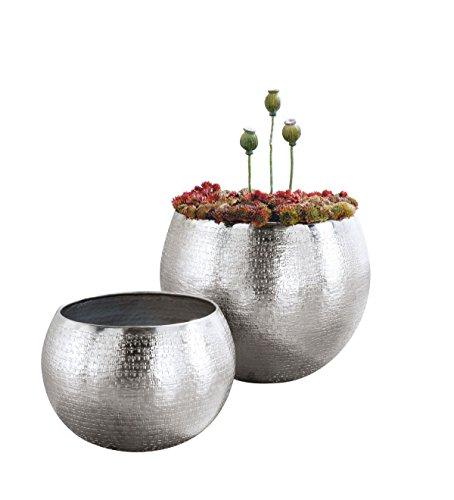 Glänzendes Blumentopf-Set aus Aluminium