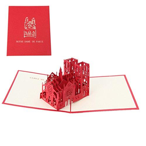 KINTRADE Artisanat 3D Carte de Voeux Pop-up Paper Cut Carte Postale Anniversaire Cadeau Saint Valentin - Notre Dame - Notre Dame de Paris (Rouge)
