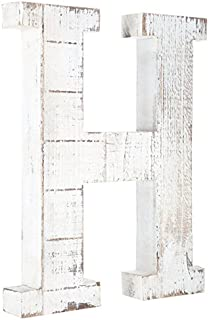 Distressed White Alphabet Wall Décor/Free Standing Monogram Letter H