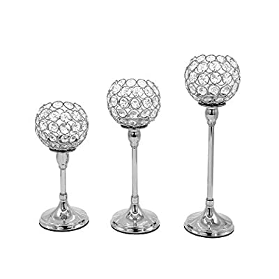 Vincidern 3 Pcs Silver Crystal Candle Holders Candelabra Centerpiece, Tea Light Candlestick Holder for Wedding Decor, Dining Table, Home, Party Holiday Centerpiece (Pack of 3Pcs)