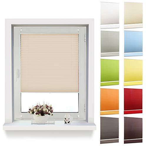 OUBO Plissee Klemmfix Faltrollo ohne Bohren Jalousie mit Klemmträger (Creme, B50cm x H120cm) Blickdicht Sonnenschutz und Sichtschutz Rollo für Fenster & Tür