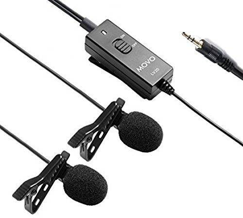 Movo Dual Capsule Lavalier Clip-on Omnidirectional Microphone for Canon EOS 1D-X MK I and II, 5D MK I, II, III, 5DS R, 6D, 7D MK I+II, 60D, 70D, Digital Rebel T6S, T6i, T5i, T4i, T3i, T2i DSLR Cameras