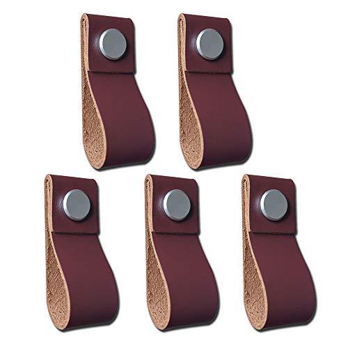 POFET 5 tiradores hechos a mano de cuero para puerta de gabinete, tiradores de la manija de la puerta del cajón, manija de la cocina, color marrón oscuro, 195 x 26 mm, marrón claro