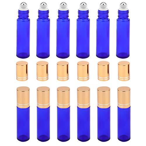 Luxshiny 12 leere Flaschen aus bernsteinfarbenem Glas, 10 ml, mit Edelstahl-Kugeln, für ätherische Öle, blau (Blau) - DZK3J6M5813664O