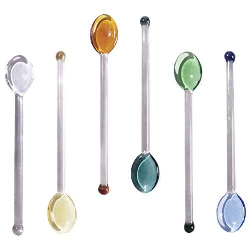Hemoton 6 cucchiaini in vetro piccoli resistenti al calore per mescolare cucchiaini in vetro, cocktail caffè espresso, cucchiaini da dessert con manico lungo, per casa, bar e feste