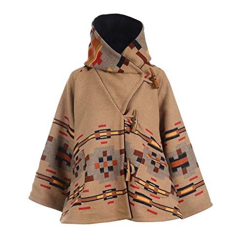 ValueVinylArt Women's Tweed Cape Boho Retro Coat Cowl Neck Hooded Warm Winter Belted Long Jacket Parka Khaki