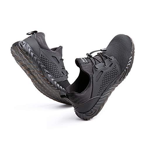 [Hitmars] 安全靴 メンズ あんぜん靴 レディース 作業靴 ふみぬき防止 スニ一カ一 軽量 むれない 軽業 鉄芯入り セーフティーシューズ おしゃれ 耐油性 耐滑 鋼先芯 工事現場 黒 25.5�p