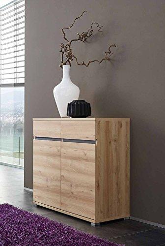 lifestyle4living Kommode in Edelbuche Nachbildung und anthrazifarbene Applikation, 2 Türen mit je 1 Einlegeboden und 2 Schubkästen, Maße: B/H/T ca. 96/88/40 cm