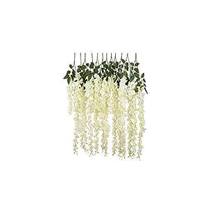97cm 12pcs/lot Artificial Wisteria Flowers Vines Wedding Decor Rattan Flower Garland Silk Cherry Fake Leaf Home Garden,White