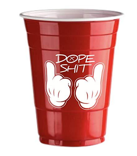 Red Celebration Rote Bechern Dope Logo 50 x Red Cups - Beer Pong American Party tassen Original 500 ml - Logos Student & Geburtstag | 16oz Große Plastik Becher Trink Glas Einweg Geschirr