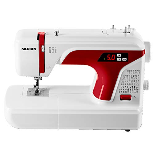 MEDION MD 16661 Digitale Nähmaschine (Knopflochautomatik, 50 Stiche Doppelnadelfunktion, LED-Nählicht, Zubehör) weiß/grau