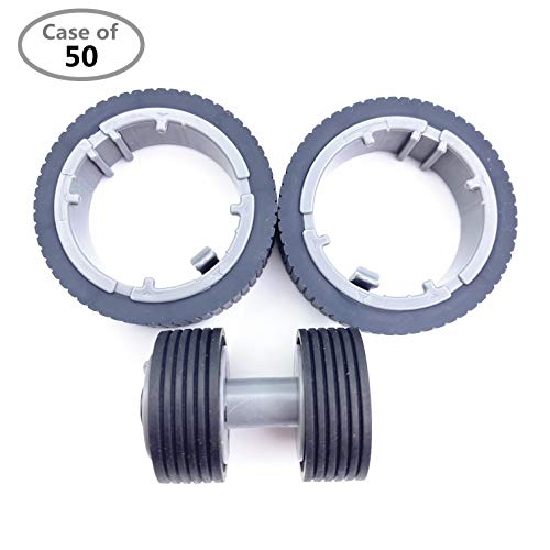 Case of 50 Packs,OKLILI Brake Roller Pick Roller Set Compatible with Fujitsu fi-7160 fi-7260 fi-7140 fi-7240 fi-7180 fi-7280 fi-7300NX P/N:PA03670-0001 PA03670-0002