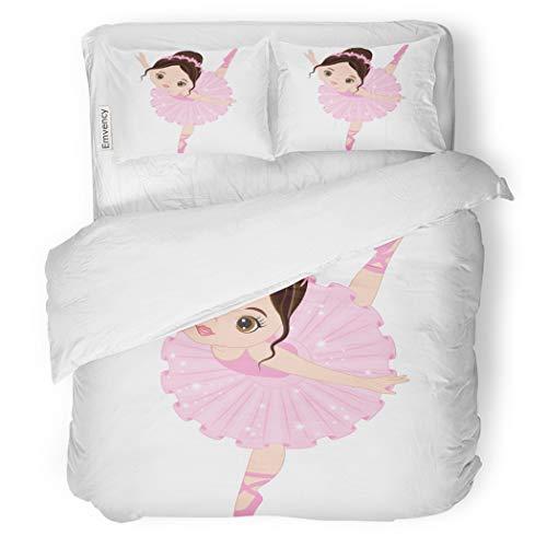 SanChic Duvet Cover Set Ballet Cute Little Ballerina Dancing Girl in Pink Decorative Bedding Set with Pillow Sham Twin Size