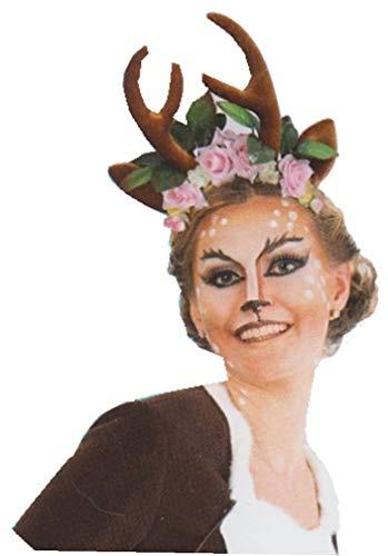 narrenwelt Haarreif REH REHLEIN mit Rosen rosa Kopfschmuck Geweih Rentier Hirsch Weihnachen