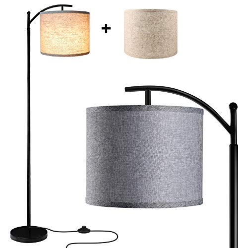 Floor Lamp for Living Room, LED Standing Lamp with 2 Hanging Lamp Shades(Beige & Gray), Tall Pole Classic Industrial Floor Lamp with 9W 3000K LED Bulb for Bedroom Study Office - Black