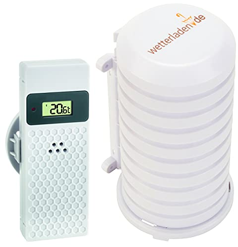 TFA Dostmann Thermo-Hygro-Sender mit Display, 30.3245.02, verwendbar als Ersatz-oder Zusatzsender (weiss mit JM Schutzgehäuse)
