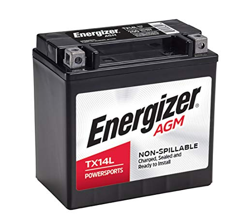 Energizer TX14L AGM Motorcycle 12V Battery, 200 Cold Cranking Amps and 12 Ahr. Replaces: YTX14L-BS and others