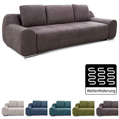 Cavadore Big Sofa Benderes / Große Couch mit Steppung und Ziernaht / Inkl. 3 Kissen / Chromfüße / 266 x 70 x 102 (BxHxT) / Grau