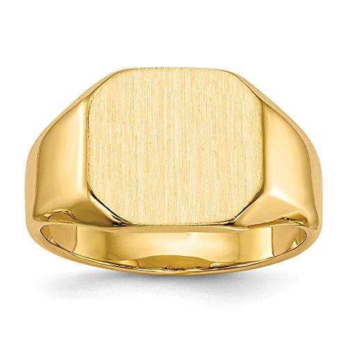 Diamond2Deal - Anello da uomo in oro giallo 14 kt, con sigillo aperto sul retro