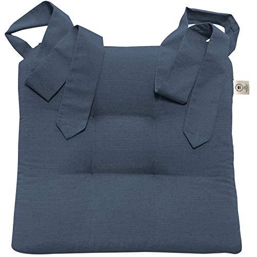 JEMIDI Stuhlkissen Sitzkissen mit Schleifenband Stuhlkissen Esszimmer Schleife Stuhl Kissen Rattanstühe Extra Dick Bequem Leinenlook (Blau)