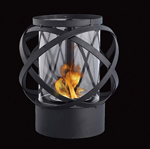 JHY DESIGN Runder Tisch Tischkamin mit Glas Bioethanol Feuerstelle 24cm Hoch Tragbarer Tisch Kamin Feuertisch Outdoor Bio Ethanol Kamin Tischfeuer für Tischdeko Innen Balkon Garten Indoor Wohnzimmer